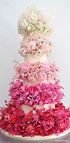 Pink Wedding ♔ Sylvia Weinstock ombre cake ♔ Très Haute Bride ♔