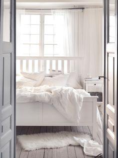 IKEA HEMNES bed frame Made of solid wood, which is a hardwearing and warm natural material. Cama Ikea Hemnes, Hemnes Bed, Full Bed Frame, White King Bed Frame, Ikea Family, Bed Slats, White Stain, Ikea Bedroom, Bed Base