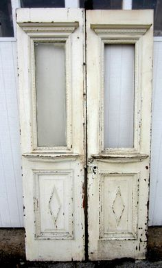 ~ ANTIQUE OAK DOUBLE ENTRANCE FRENCH DOORS ~ 42.75 x 84.25 ARCHITECTURAL SALVAGE