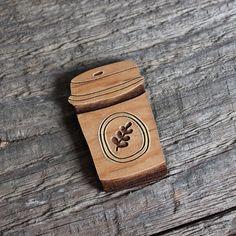Coffee Takeaway Cup Wooden Brooch