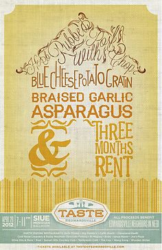 """Taste of Edwardsville posters by Rodgers Townsend.  I am in love with the """"Herb Rubbed Pork Chop"""" font...anybody know what typeface it is?"""