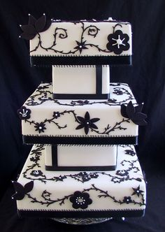 Black and White Square Wedding Cake   www.tablescapesbydesign.com https://www.facebook.com/pages/Tablescapes-By-Design/129811416695