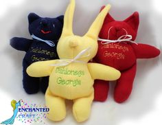 Personalized Handmade Fleece Animal in your choice of colors! Choose Bear, Kitty, Bunny by enchantedcraft, $8.00 USD