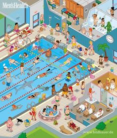 "26 MAY (Great Illustration for description in aphasia) MEN'S HEALTH, ""Public Pool"", Editorial Illustration by Christoph Hoppenbrock, via Behance Spanish Classroom, Teaching Spanish, Teaching English, Picture Writing Prompts, Speech Language Pathology, Speech And Language, Editorial Illustration, Picture Comprehension, Picture Composition"