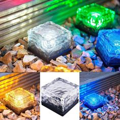 Waterproof Solar Path Ice Cube Rocks LED Frosted Glass Brick Paver Garden In-groud Buried Light Ingroud for Outdoor Path Road Square Yard (Multi-colored) Luz Solar, Solar Lamp, Brick Path, Brick Pavers, Brick Fence, Brick Road, Solar Licht, Led Licht, Grounding Crystals