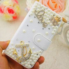 Luxury Bling Anchor Pearls Customized White Embossed PU Leather Case Cover for iPhone 5 6 7 for Samsung Phone Case //Price: $US $6.58 & FREE Shipping //     #iphone #samsungphones