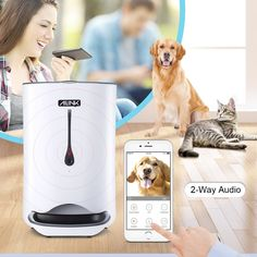 Automatic Pet Feeder Food Dispenser for Dogs and Cats Smartphone WiFi for Audio Programmable Camera Smart Feed * Read more at the image link. (This is an affiliate link) Auto Cat Feeder, Automatic Cat Feeder, Dog Feeder, Pet Camera, Cat Sitter, Large Animals, Smartphone, Dog Food Recipes, Pet Supplies