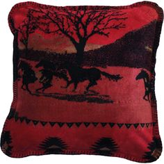 The beautiful mountain and desert scene with horses running through it on the red throw pillow, reversing to black, will warm your western home. Double-sided MicroPlush throw pillow is made from fine denier acrylic fiber which is softer and warmer than fleece. Made in the USA.