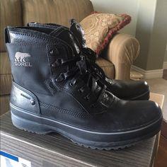 MEN's SOREL Brimley Boots (NEW!) Color is Black. NEW! Waterproof. SOREL Shoes