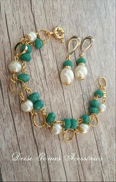 Gold Double Strand with Pearls and Green Faceted Turquoise - Pearl Jewelry Bead Jewellery, Bead Earrings, Wire Jewelry, Boho Jewelry, Jewelry Crafts, Gemstone Jewelry, Jewelry Sets, Beaded Jewelry, Jewelry Bracelets