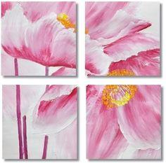 Bloemen Kunst, Acryl Schilderij 'Pink Poppies 1' Vierluik schilderij met roze bloemen van Aleksandra - Kunstvoorjou.nl
