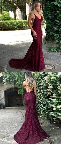 elegant mermaid burgundy lace prom dress with sweep train, bodycon mermaid burgundy lace v-neck party dress with sweep train