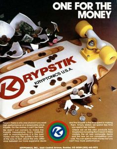 Vintage skateboard ad (from the 80s?)  Like the red and yellow here with the wood.