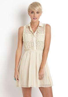 Blu Pepper Lace Top Pleated Dress... Buy this at Altar'd State!