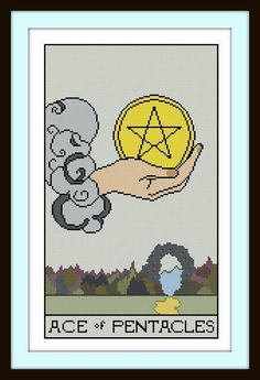 Ace of Pentacles Tarot Card cross stitch pattern pdf by Whoopicat, $6.00