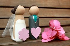 Custom Wooden Bride and Groom Wedding Couple by ProverbialDaisies, £32.00
