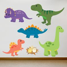 Children's Dinosaur Wall Sticker Set by Oakdene Designs, the perfect gift for Explore more unique gifts in our curated marketplace. Dinosaur Wall Decals, Kids Wall Decals, Vinyl Decals, Contemporary Wall Stickers, Dinosaur Bedroom, Dinosaur Images, Dinosaur Crafts, Baby Dinosaurs, Dinosaur Birthday Party