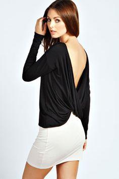 Jemma Open Cowl Back Long Sleeve Top at boohoo.com
