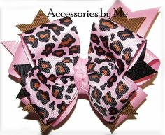 Leopard Cheetah Pink Funky Girls Hair Bow Cheer by accessoriesbyme, $15.99