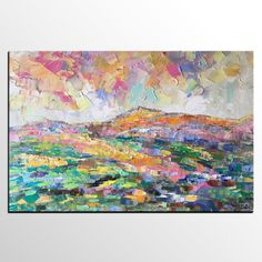 Abstract Art, Large Oil Painting, Abstract Mountain Landscape Painting, Large Wall Art, Canvas Art, Original Painting, Living Room Wall Art