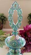 FENTON Art Glass Spruce Green Perfume Bottle & Carnival Glass Stopper w/Label