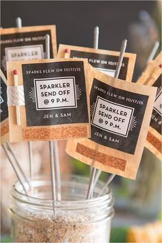 Send the bride and groom off on their wedding day with these adorable DIY sparkler wedding favors. To make these, you'll need just a few easy-to-acquire su