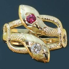 Victorian intertwined serpents or snake ring with diamond and ruby (image 1 of 7)