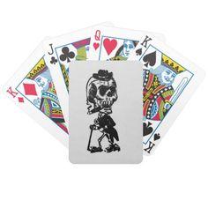 Cigar Smoking Cowboy Skeleton Card Deck #zazzle #leatherwooddesign
