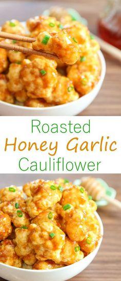 Roasted Honey Garlic Cauliflower. An easy dinner or side dish, with an addicting garlic sauce!