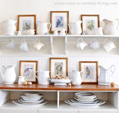 I LOVE the pitchers! Bird Prints with white ironstone makes a pretty spring vignette for your home. Download the free printable to create your own bird prints.