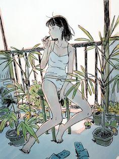 Art by Yojiro Arai Anime Art Girl, Manga Art, Anime Girls, Pretty Art, Cute Art, Aesthetic Art, Aesthetic Anime, Art Sketches, Art Drawings