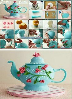 Tea Pot Cake - For all your cake decorating supplies, please visit craftcompany. Cake Decorating Supplies, Cake Decorating Techniques, Cookie Decorating, Fancy Cakes, Cute Cakes, Pretty Cakes, Fondant Cakes, Cupcake Cakes, Teapot Cake