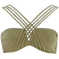 Khaki Pacha padded cross strap bikini top ($15) ❤ liked on Polyvore featuring swimwear, bikinis, bikini tops, tops, khaki, sale, swimwear / beachwear, women, summer swimwear and river island