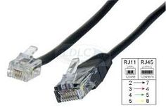 RJ45 to RJ11 Black 12' Foot Black Cable