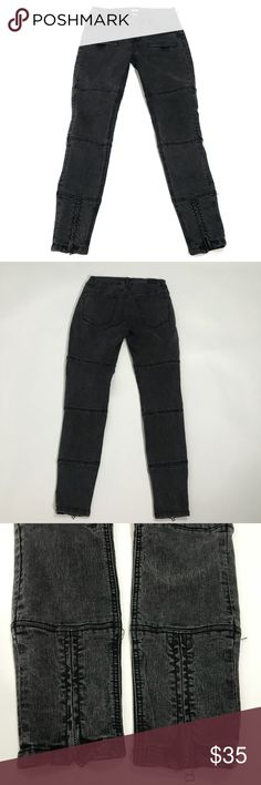 "Urban Outfitters BDG Wo's Dark Gray Skinny Jeans Urban Outfitters BDG Women's Dark Gray Skinny Jeans Size 27 Inseam28""  In excellent condition  No damage or stains  Zipper details on hems   Flat Measurements  Waist 13.5"" Rise 9"" mid rise Inseam 28"" Leg Opening 4.5""  Materials  77% cotton  21% polyester  2% spandex   Item Number 57UTCS001 BDG Jeans Skinny"