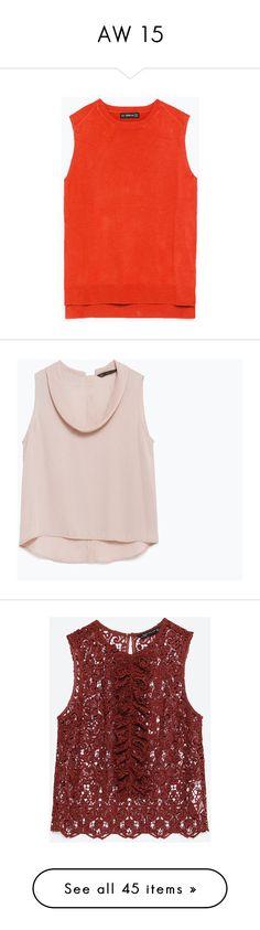 """AW 15"" by psaraki13 ❤ liked on Polyvore featuring tops, dark orange, sleeveless knit tops, sleeveless tops, knit tops, red knit top, red sleeveless top, blouses, nude pink and zara blouse"