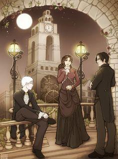 Tessa, Will, and Jem on a bridge