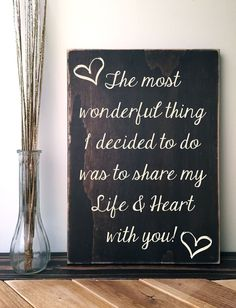 The most wonderful thing I decided to do is share my life & heart with you! Rustic Wood Sign