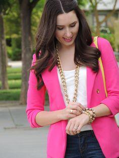 Pink blazer and gold chain. Pink Blazer Outfits, Pink Blazers, Spring Summer Fashion, Autumn Winter Fashion, Black Girl Fashion, Cute Summer Outfits, Fashion Outfits, Womens Fashion, Fashion Trends