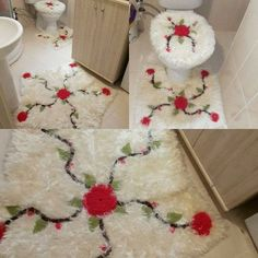 The bathroom toilet set made of bearded rope will fit your bathroom. You can make toilet bowls with silvery ropes. Crochet Tablecloth Pattern, Pom Pom Wreath, Beard Model, Crochet Stars, Shag Rug, Decoration, Diy Home Decor, Free Pattern, Diy And Crafts