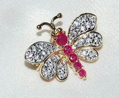 Vintage Genuine Ruby Butterfly Pin Pave Diamond by InVogueJewelry, $69.00