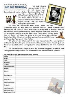 Ich heiße Christina Arbeitsblatt - Kostenlose DAF Arbeitsblätter Reading Club, Kids Reading, World Languages, Foreign Languages, Deutsch Language, German Grammar, German Language Learning, Learn German, Study Inspiration