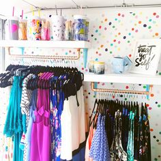 Ideas for your Mobile Boutique. Patterns & Pops fashion truck features a colorful polka dot statement wall, and custom shelves to sport their happy collection of clothing. Best Mobile Boutique in Denver, Colorado. Boutique Design, Boutique Decor, Boutique Interior, Boutique Stores, A Boutique, Boutique Clothing, Fashion Boutique, Small Boutique Ideas, Boutique Mobiles