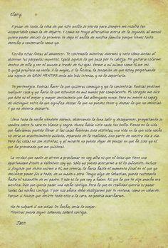 carta de jace a clary en ciudad de cristal - Buscar con Google