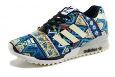 Womens adidas Originals ZX Flux Luminous Pattern blue/white/black/green/red Shoes topshoeshop.co.uk ♥ Pin for later. #adidasoriginals #retroshoes #80sfashion #funkyshoes