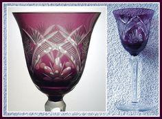AMETHYST PLUM Wine Glass Goblet Hock CUT TO CLEAR CRYSTAL Germany VEB GEHREN