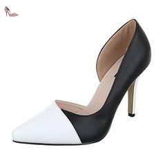 Ital-Design , chaussures compensées femme - noir - noir/blanc, - Chaussures ital design (*Partner-Link)