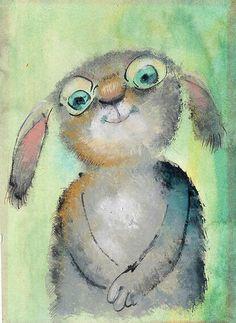 Green-eyed bunny tries his new spectacles ~~~ Artist:  Igor Oleynikov