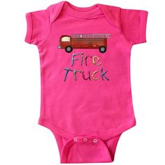 Inktastic Firetruck Infant Creeper Baby Bodysuit Firefighter Toy Truck School High Schools Middle District Musical Elementary Public New Christian Catholic Charter Private What Happens At Kindergarten Stays Preschool Today Is My 1st Day Of Grade When I Grow Up Want To Be Teacher Drive Bananas I'm Riding The Bus This Year Worlds Best Charm House Graduation Supplies Apple Favorite Gift One-piece, Infant Boy's, Size: Newborn, Pink