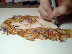 Drawing Rapunzel from 'Tangled'. I don't even know what tool this person is using... like, markers??? they look odd...